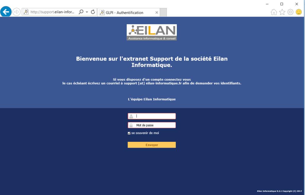 capture du site Extranet service Support Eilan-Informatique